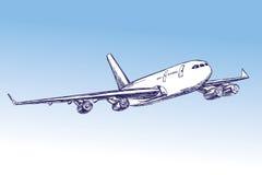 Авиалайнер, воздушное судно вручает вычерченный эскиз llustration вектора Стоковые Изображения