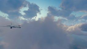 Авиалайнер в солнечном небе с облаками иллюстрация вектора