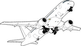 Авиалайнер Sukhoi Superjet-100 также вектор иллюстрации притяжки corel Стоковые Фотографии RF