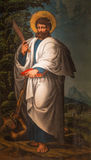 АВИЛА, ИСПАНИЯ, 18 -ГО АПРЕЛЬ -, 2016: St Bartholomew картина апостола в Catedral de Cristo Сальвадоре неизвестным художником от Стоковые Изображения RF