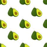 Авокадо весь и картина куска безшовная плодоовощ тропический также вектор иллюстрации притяжки corel бесплатная иллюстрация