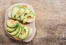 Авокадо sandvish Взгляд сверху Стоковые Фотографии RF