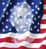 Авраам Lincoin на объединенном флага Америки Стоковая Фотография RF