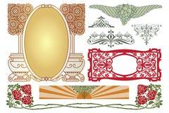 лавр граници покидает вектор шаблона тесемок дуба Рекламы, рогулька, сеть, свадьба и другие приглашения или поздравительные откры Стоковые Изображения RF