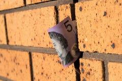 Австралиец примечание 5 долларов на стене Стоковая Фотография