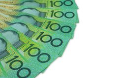 Австралийский доллар, австралийские деньги 100 долларов стога банкнот на белой предпосылке с путем клиппирования Стоковая Фотография RF