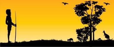 Австралийский заход солнца с кенгуру и взглядом панорамы человека стоковые фото