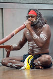 австралийский игрок уроженца didgeridoo Стоковое фото RF