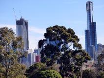 Австралия, Мельбурн, взгляд небоскребов вдоль улиц города Стоковое Изображение RF