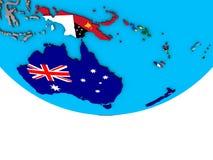 Австралия с флагами на глобусе иллюстрация вектора
