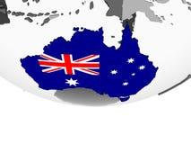 Австралия с флагом на глобусе иллюстрация вектора