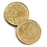 Австралийская коммеморативная изолированная монетка ANZAC Стоковые Фотографии RF