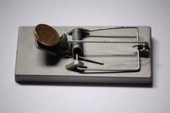 Австралийская монетка на жадности и заманчивости ловушки мыши Стоковое Изображение