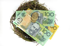 Австралийские деньги в концепции вклада сбережений гнезда Стоковая Фотография RF