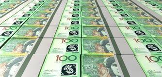 Австралийские пачки долларовой банкноты положенные вне Стоковые Изображения RF