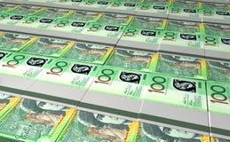 Австралийские пачки долларовой банкноты положенные вне Стоковая Фотография