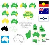 Австралийские положения и флаги иллюстрация штока