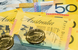 Австралийские примечания денег закрывают вверх Стоковое Изображение RF