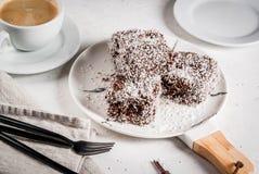 Австралийский десерт Lamington Стоковая Фотография