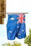 Австралийский развевая флаг внешний Стоковое Фото