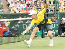Австралийский теннисист Джон всматривается во время двойников Davis Cup против США Стоковая Фотография RF