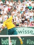 Австралийский теннисист Llayton Hewitt во время Davis Cup удваивает братьев Брайан стоковое фото
