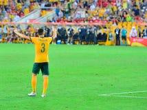 Австралийский футболист благодаря толпу стоковые изображения