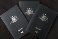 3 австралийских пасспорта Стоковое Изображение