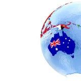 Австралия на политическом глобусе с флагами бесплатная иллюстрация