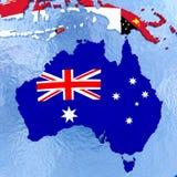 Австралия на политическом глобусе с флагами иллюстрация вектора