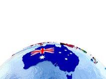Австралия на политическом глобусе с флагами иллюстрация штока