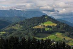 Австрийские горные вершины, гора на солнце утра Стоковая Фотография RF