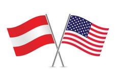 Австрийские и американские флаги также вектор иллюстрации притяжки corel Стоковое Фото