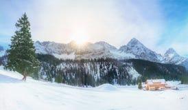 Австрийские alps в зиме Стоковая Фотография