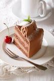 Австрийский шоколадный торт с чувствительным концом-вверх сливк масла V Стоковая Фотография