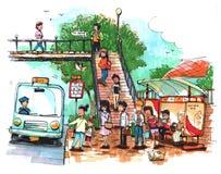 Автобусная остановка, иллюстрация общественного местного транспорта иллюстрация штока