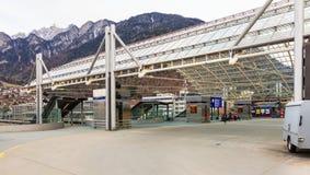 Автобусная станция в городе Chur, Швейцарии Стоковые Изображения RF