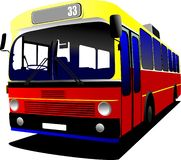 Автобус города на дороге иллюстрация вектора