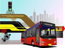 Автобус города на дороге , иллюстрация вектора