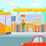 Автобус человека ждать на автобусной остановке иллюстрация штока