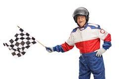 Автогонщик развевая checkered флаг Стоковые Изображения RF