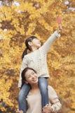 Автожелезнодорожные перевозки катания дочери на плечах матери наслаждаясь листьями осени Стоковые Изображения