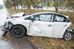 Автокатастрофа аварии с деревом Стоковое Фото