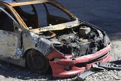 Автокатастрофа, выгоревшая развалина Стоковые Изображения