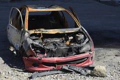 Автокатастрофа, выгоревшая развалина Стоковое Изображение