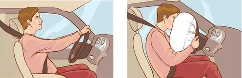 Автокатастрофа и раскрытие воздушной подушки  иллюстрация штока