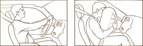 Автокатастрофа и раскрытие воздушной подушки  иллюстрация вектора