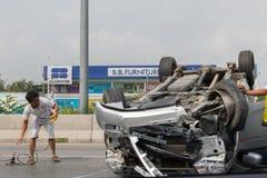 Автокатастрофа от автомобильной катастрофы на дороге Стоковая Фотография RF