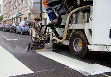 Автоматизированная маркировка пешеходного перехода Стоковое Изображение