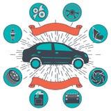 Автоматическая предпосылка обслуживания с автоматическими ремонтом автомобиля и символами диагностик Винтажное ретро infographics иллюстрация штока